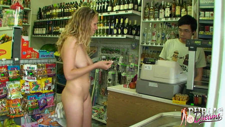 cute little girl walks around the town naked