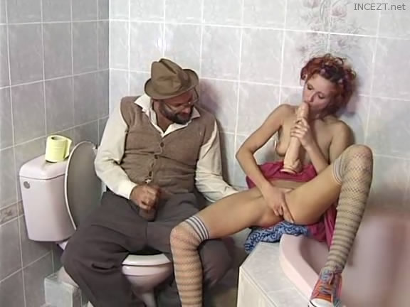 Father and daughter in the bathroom