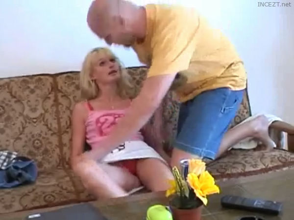 Father and daughter fucking on bed