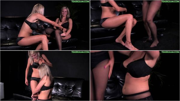 Two sexy blonde in black pantyhose