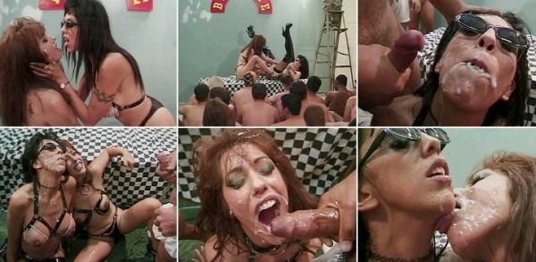 [/color] Angela D'angelo and Mia Domore star in this cum drenched scene from American Bukkake 6, in w