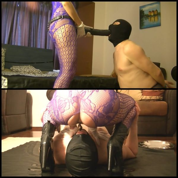 (23.02.2017) Silicone Goddess pissing and shitting in slave mouth